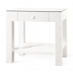 GRASSCLOTH & GLASS SIDE TABLE WHITE