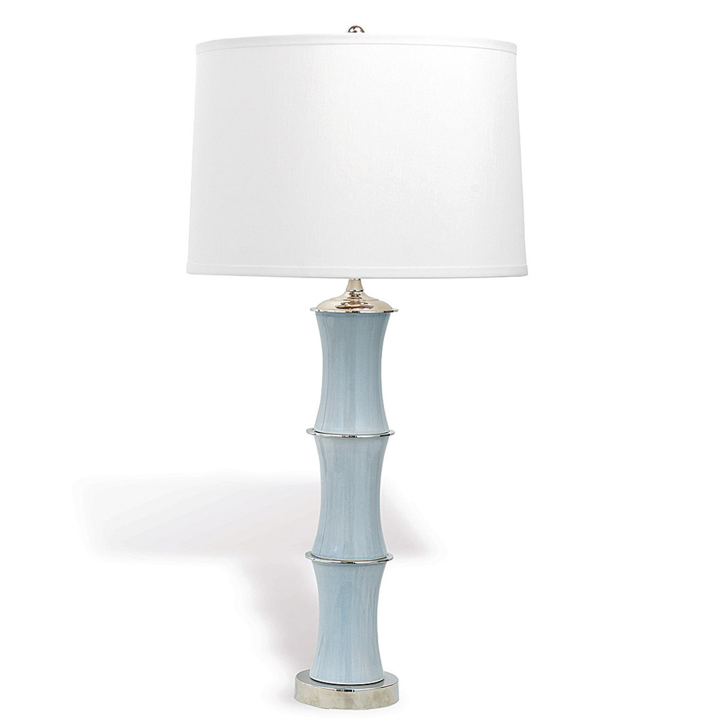 PORCELAIN BAMBOO TABLE LAMP GRAY