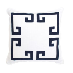 GREEK KEY PILLOW - WHITE & NAVY