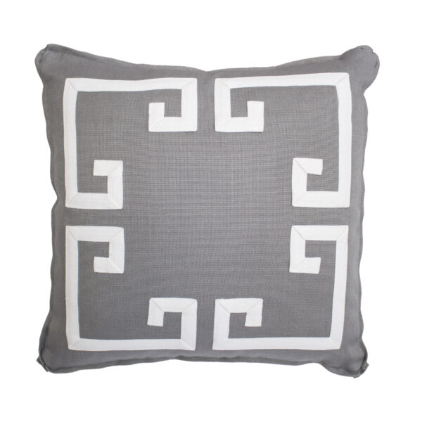 GREEK KEY PILLOW - ASH & WHITE