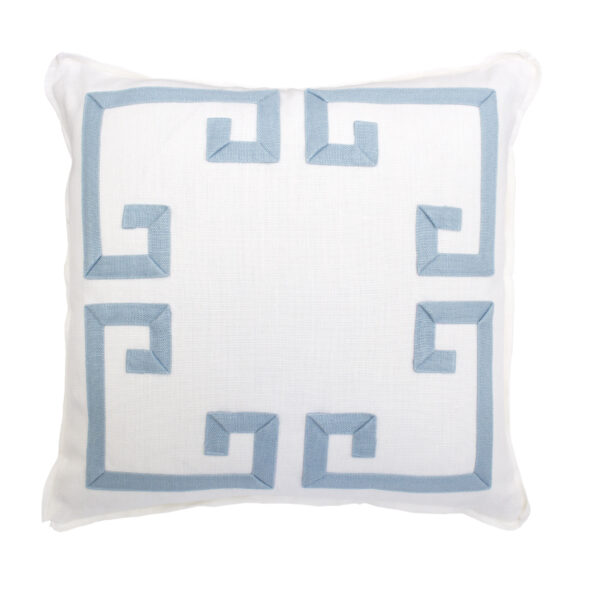 GREEK KEY PILLOW - WHITE & AZURE