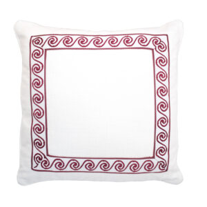 LINEN GREEK KEY TRIM PILLOW