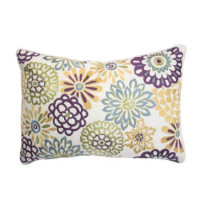 MULTICOLORED FLORAL EMBROIDERED LUMBAR PILLOW