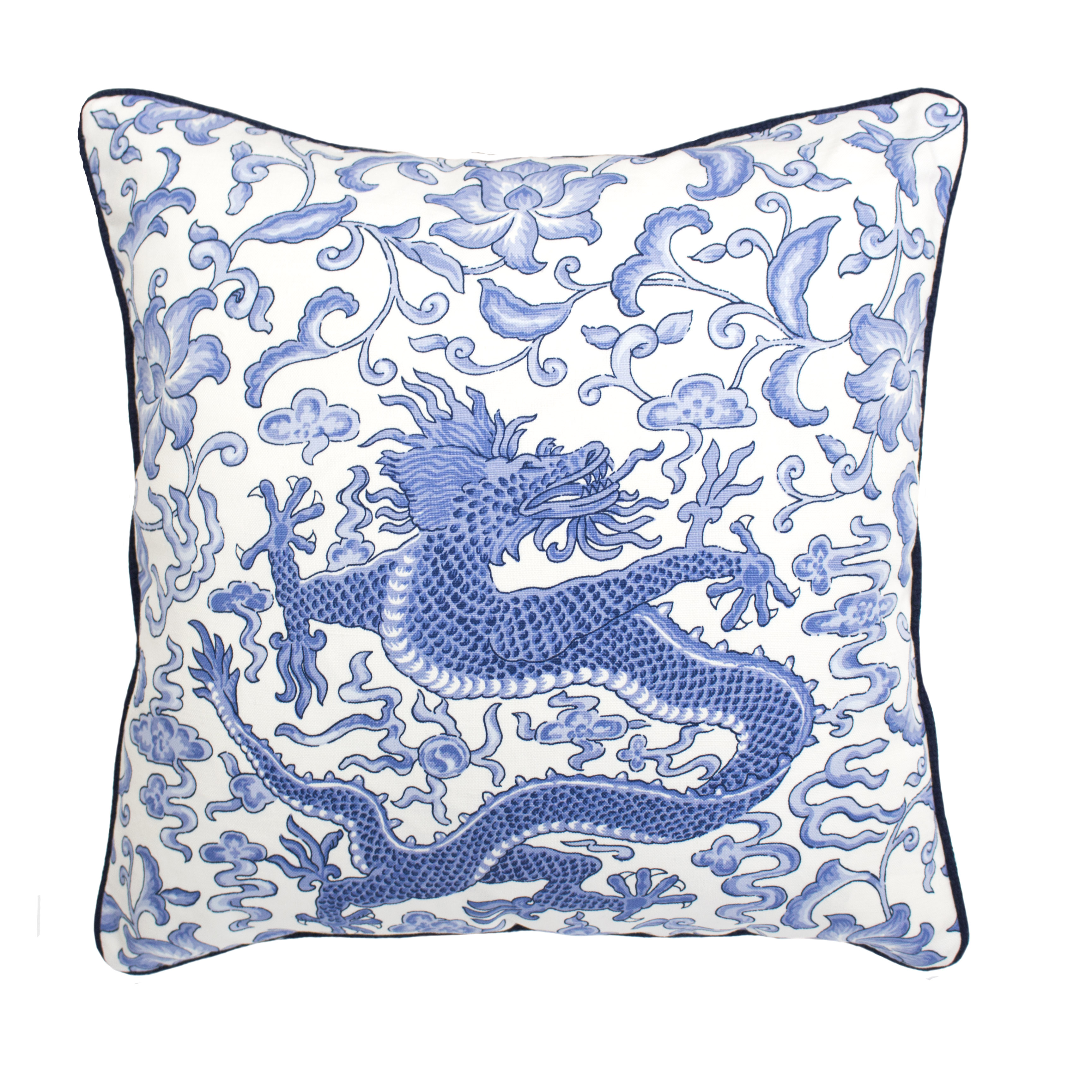 SCALAMANDRE DRAGON PILLOW - BLUE